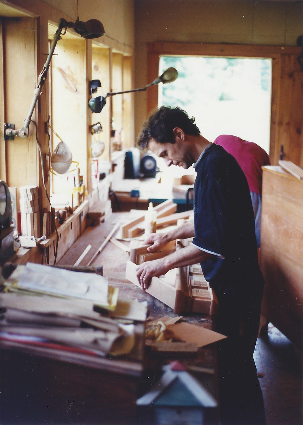 Peter Maynard in his shop circa 1990
